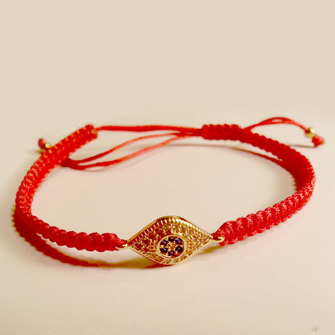 Milgrain Pave CZ Evil Eye Red Braided Cord Bracelet in Yellow Gold-tone