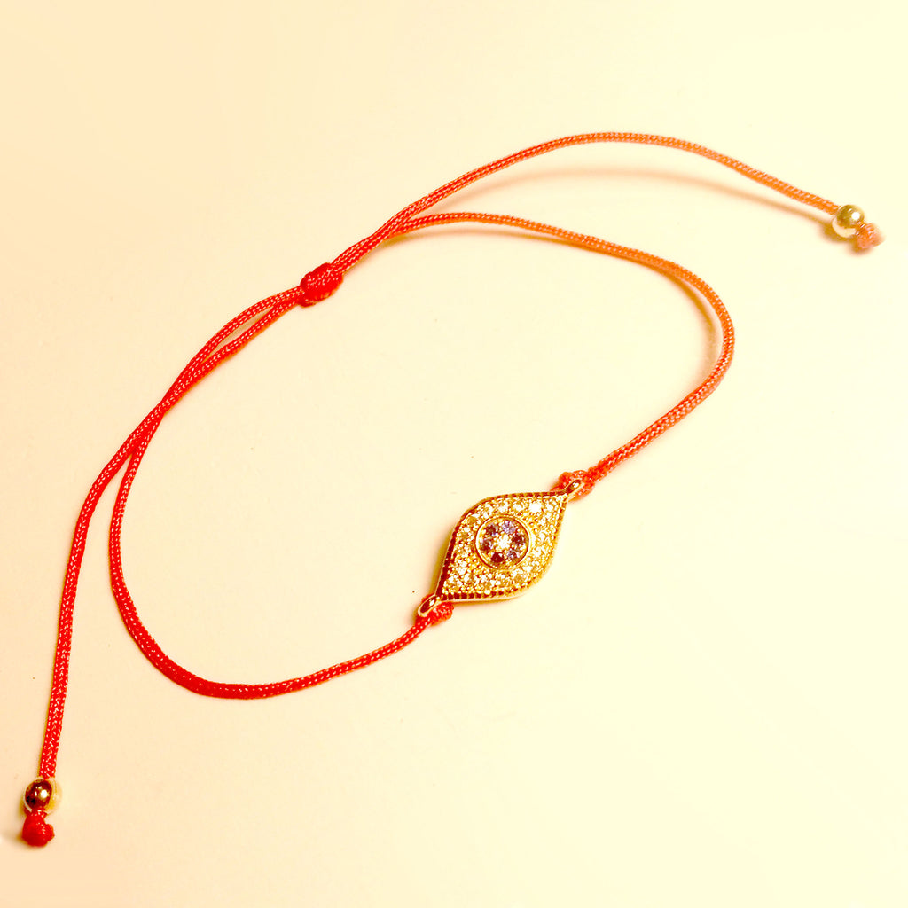 6ce3d53d6db6b3 ... Delicate Red String Kabbalah Bracelet with Tiny Evil Eye in Blue  Sapphire-colored czs in ...
