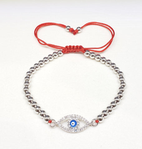 Adjustable evil eye bracelet