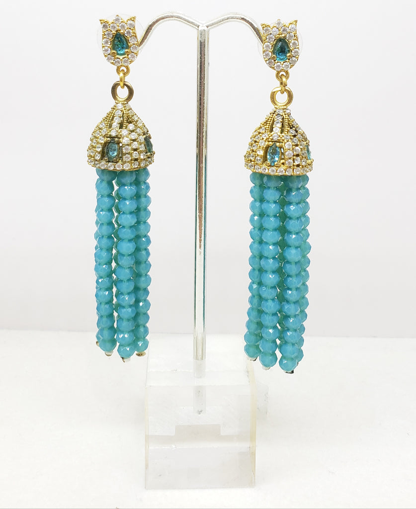 Turquoise with precious stones chandelier earrings with 14 karat gold over sterling silver