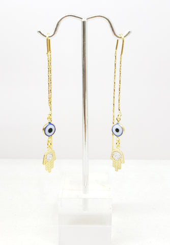 Delicated Hamsa and Evil Eye Earings Sterling silver over 14k gold