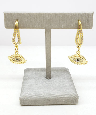 Evil Eye earings. Sterling silver over 14k gold with cubic zirconias