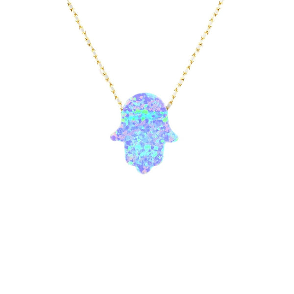 Light Blue Opal Hamsa Chain Necklace in White Gold-tone