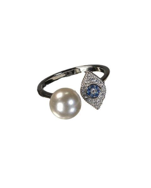 Beautiful Evil Eye ring 925 Sterling Silver with Blue Sapphires, cubic Zirconia, freshwater Pearl