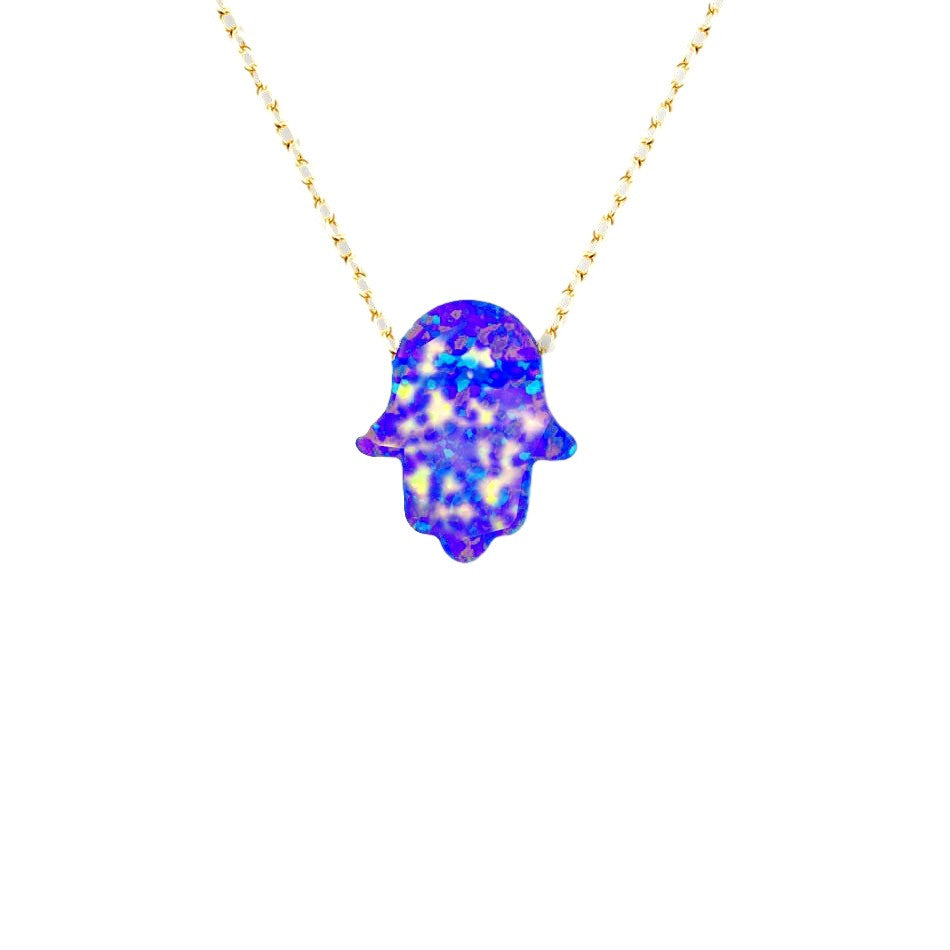 Dark Blue Opal Hamsa Chain Necklace in Yellow Gold-tone
