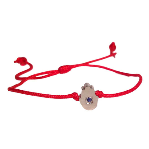 Delicate Red String Bracelet with Tiny  Blue Sapphire Yellow Gold-tone Hamsa