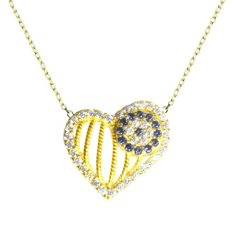 Evil Eye Heart Necklace in Pave CZ in White Gold-tone