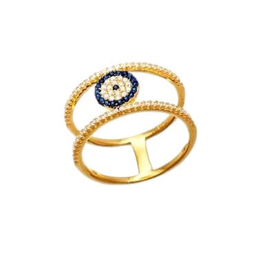Evil Eye Pave Blue Crystal Double Band Gold-Tone Ring