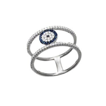 Evil Eye Pave Blue Crystal Double Band Sterling Silver Ring with White Gold Finish.