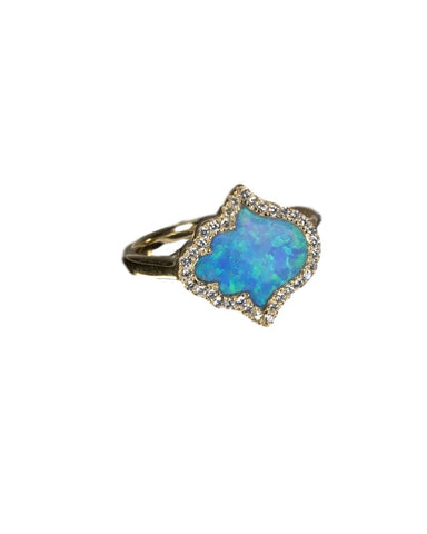 Lovely Hamsa Hand Silver silver 925 ring with blue Opal Stone and cubic zirconia