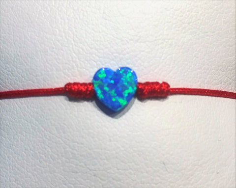 Kabbalah Red String with Hamsa Opal, Heart Opal and Cross Opal Bracelet