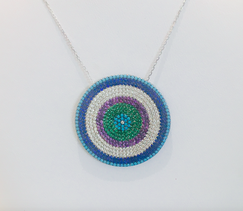 Evil Eye Sterling Silver with Turquoise, Cubic Zirconia and Different Crystals Necklace