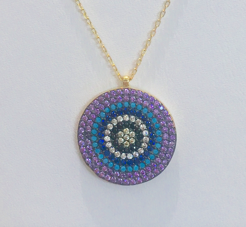 Evil Eye Sterling Silver with Turquoise and Cubic Zirconia Yellow Gold Tone Necklace