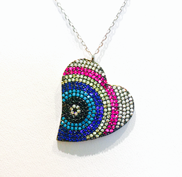 Evil Eye Heart Sterling Silver 925 with Cubic Zirconia Necklace