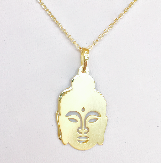 Sterling Silver over 14k Gold Necklace with Buddha Hamsa