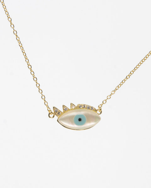 Turquoise Mother of Pearl Evil Eye With Cubic Zirconia Eyelashes with a Sterling Silver 925 chain also with Sterling Silver cover in 18k gold.