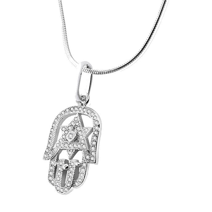 Star of David Hamsa Necklace in Sterling Silver 925 and CZ