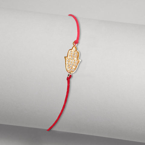 Delicate Red String Bracelet with Hamsa in Pave CZ Yellow Gold-tone
