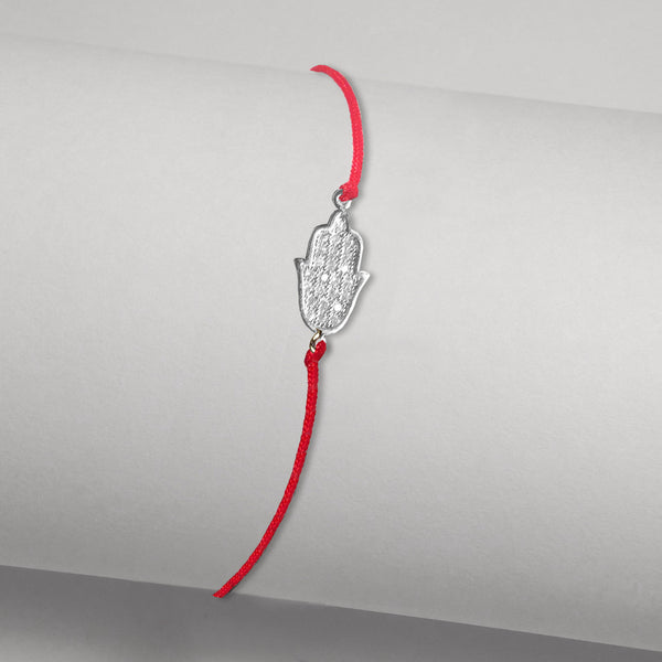 White Gold-tone Delicate Kabbalah Red Cord Bracelet with Hamsa in Pave CZ