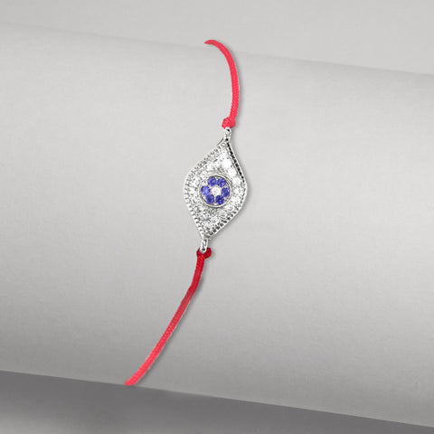 Delicate Red String Kabbalah Bracelet with Tiny Evil Eye in Blue Sapphire-colored czs in White Gold-tone
