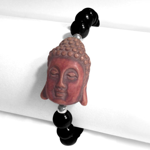 8mm Black Stone Bead Bracelet with Red Brown Serene Buddha