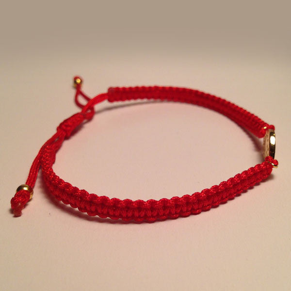 Pave CZ Evil Eye Red Braided Cord Bracelet in Yellow Gold-tone
