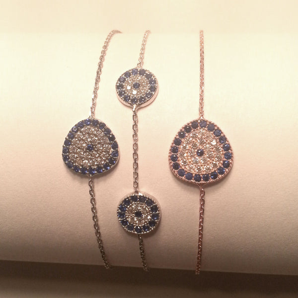 Rose Gold-tone Pave CZ Evil Eye Chain Bracelet with soft-triangle shape