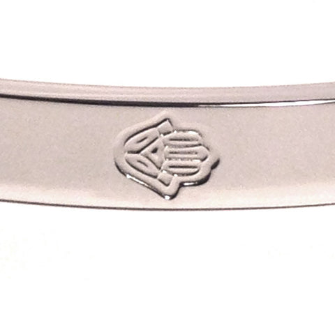 White Gold-Tone Stainless Steel 6 Hamsa Bangle Bracelet