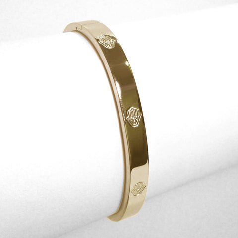 Yellow Gold-Tone Stainless Steel 6 Hamsa Bangle Bracelet