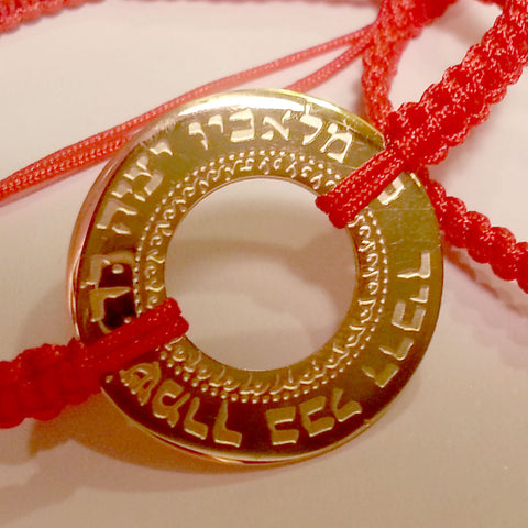 Red Braided Cord Bracelet with Large Hebrew Circle in Yellow Gold-tone Stainless Steel