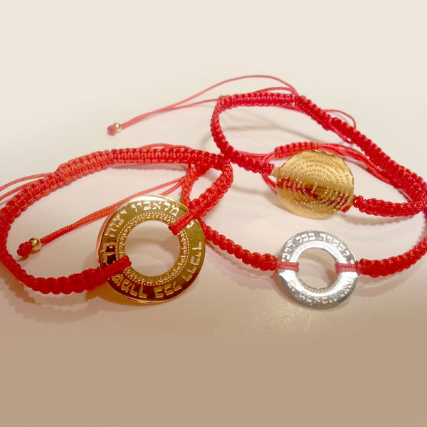 White Gold-tone Stainless Steel Red Braided Cord Bracelet with Large Hebrew Circle