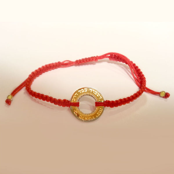 Red Braided Cord Bracelet with Medium Hebrew Circle in Yellow Gold-tone Stainless Steel