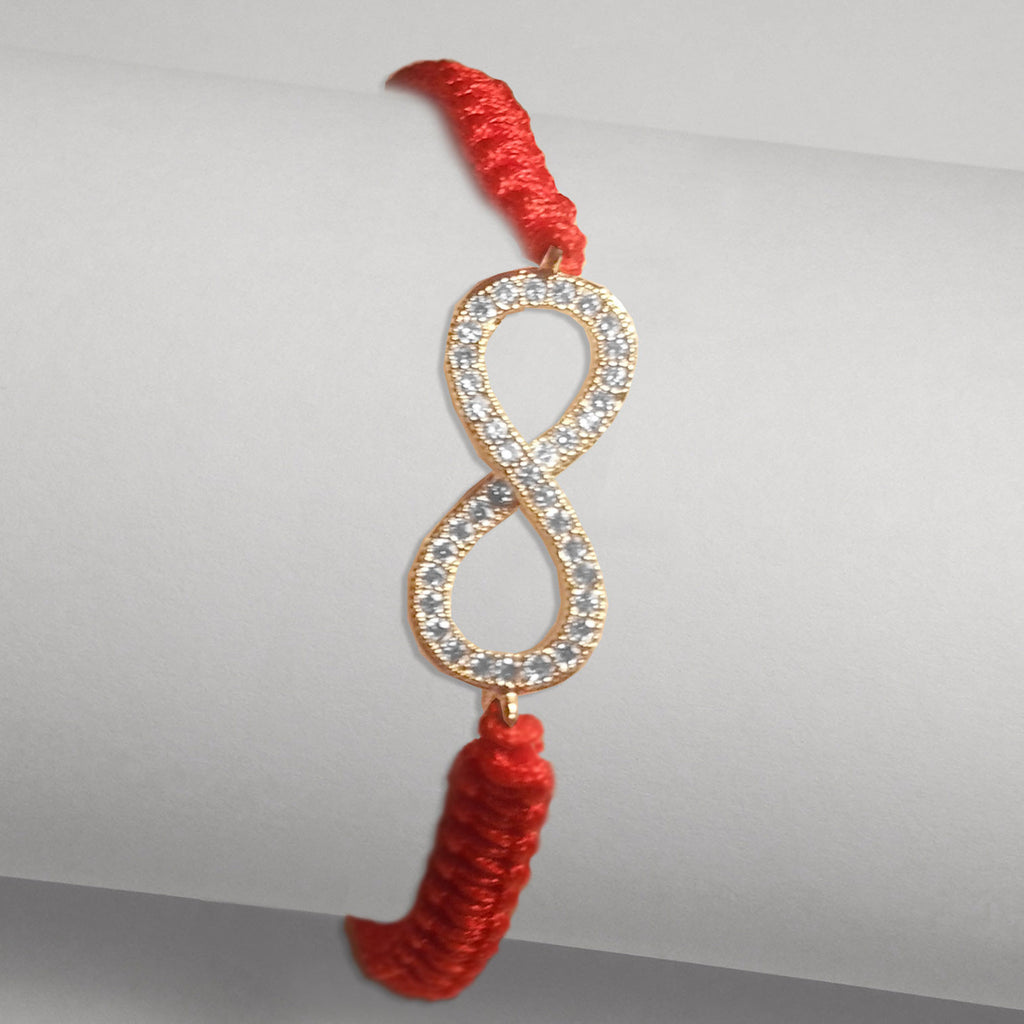 Pave CZ Infinity Red Braided Cord Bracelet in Yellow Gold-tone