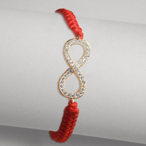 White Gold-tone Pave CZ Infinity Red Braided Cord Bracelet