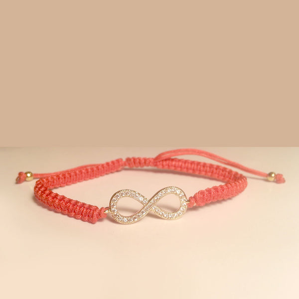 Rose Gold-tone Pave CZ Infinity Red Braided Cord Bracelet