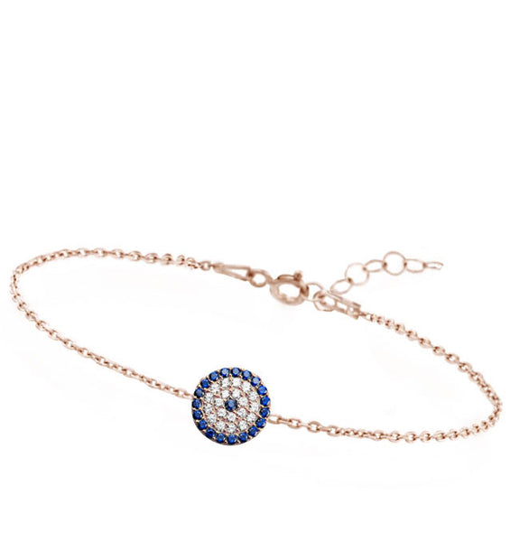 Rose Gold-tone Pave CZ Evil Eye Chain Bracelet