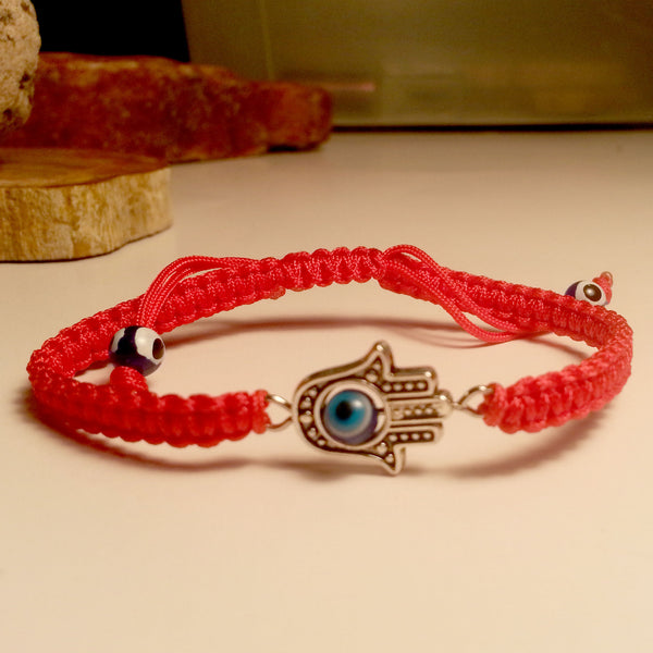 Hamsa with 4 Evil Eyes in Red Braided Cord Bracelet