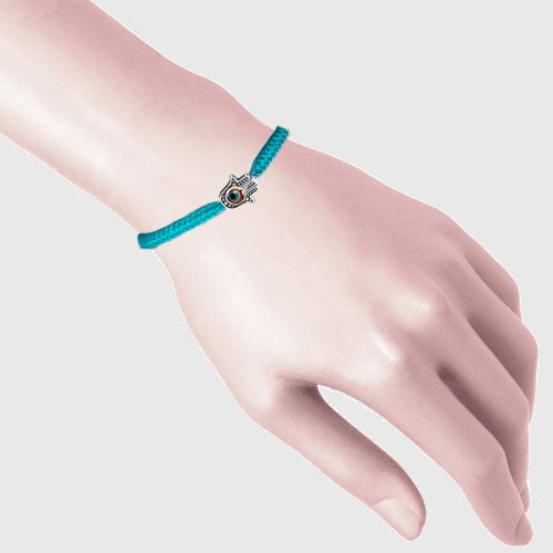 Turquoise Blue Hamsa with 4 Evil Eyes Braided Cord Bracelet