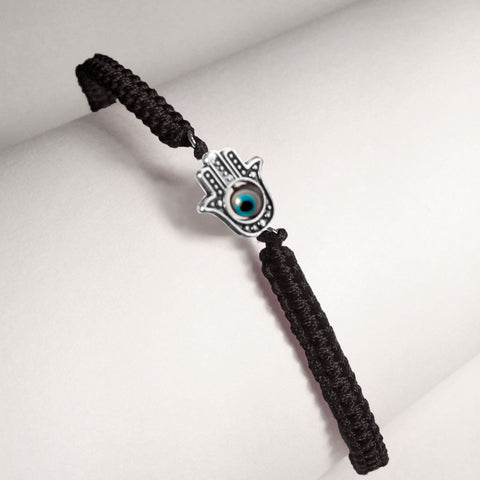 Hamsa with 4 Evil Eyes in Black Braided Cord Bracelet