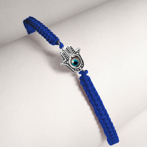 Hamsa with 4 Evil Eyes in Royal Blue Braided Cord Bracelet