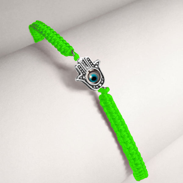 Green Braided Cord Hamsa Bracelet with 4 Evil Eyes