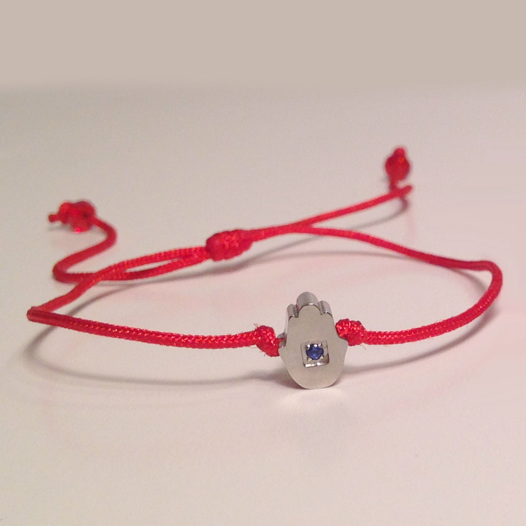 White Gold-tone Hamsa Delicate Red Cord Bracelet with Tiny Blue Sapphire