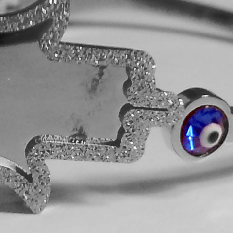 White Gold-Tone Stainless Steel Large Hamsa Bangle Bracelet with Evil Eye
