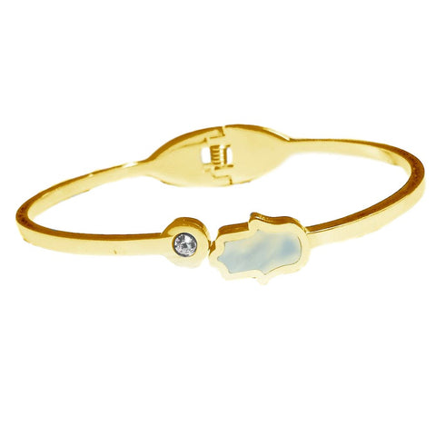 White Gold-Tone Stainless Steel Mother of Pearl Hamsa Bangle Bracelet with Bezel-set cz