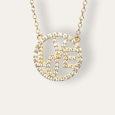 Yellow Gold LOVE Circle Necklace in Pave-set cz