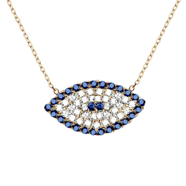 Evil Eye Necklace in Pave CZ in White Gold-tone