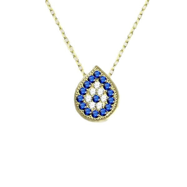 Blue Sapphire Bezel-edge Yellow Gold-tone Teardrop Evil Eye Necklace with Pave CZ