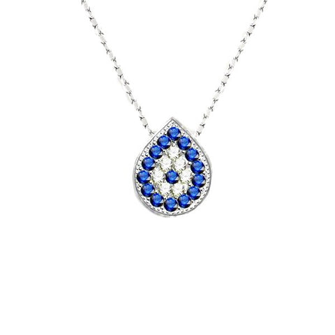Blue Sapphire Bezel-edge White Gold-tone Teardrop Evil Eye Necklace with Pave CZ