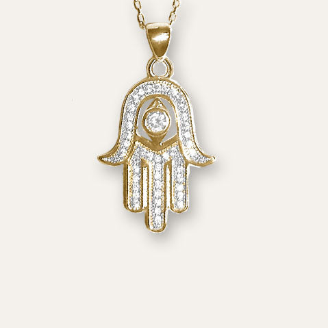 Rose Gold-tone Hamsa with Evil Eye Necklace with Pave CZ
