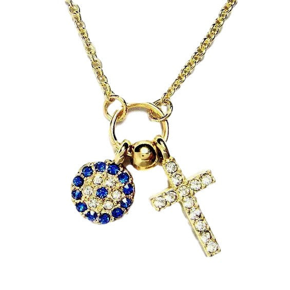 White Gold-tone Evil Eye and Cross Necklace with Pave clear and blue CZ